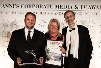 Principal Mel Curtis of British International School of Chicago, Lincoln Park with CEO Jeremy Richter of Richter Studios Accepting Silver Dolphin for the 2016 Cannes Corporate Media and TV Awards Festival. Over 1,000 entries were submitted from more than 50 nations with only 177 winners.