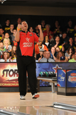 "COLUMBUS, OHIO -  Wes Malott celebrates after defeating Jason Belmonte by a score of 214-156 to capture the men's title at the 2013 Lipton Bowling's U.S. Open.  Mallot was defeated shortly thereafter by Liz Johnson, 194-188, in a historic ""Battle of the Sexes"" final match.  (PRNewsFoto/Bowling Proprietors' Association of America)"