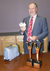 "On June 18, 2012, SynCardia won two Gold Stevie(R) Awards at the 10th Annual American Business Awards. SynCardia Chairman/CEO/President Michael Garippa accepted the awards for ""Company of the Year - Health Products and Services"" and ""Most Innovative Company of the Year - up to 100 Employees.""  (PRNewsFoto/SynCardia Systems, Inc.)"