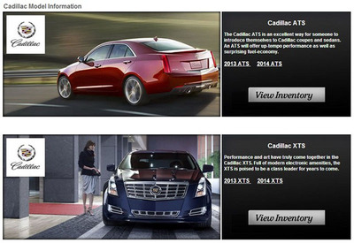 The new Cadillac Model Information page produced by Cavender Cadillac is a simple development that can have wide reaching operations. (PRNewsFoto/Cavender Cadillac) (PRNewsFoto/CAVENDER CADILLAC)