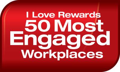 50 Most Engaged Workplaces Logo.  (PRNewsFoto/I Love Rewards)