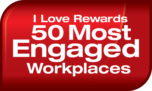 50 Most Engaged Workplaces Logo.  (PRNewsFoto/I Love Rewards)