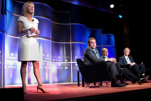 (From left) UCLA Anderson School of Management Dean Judy Olian on stage with CNBC's Brian Sullivan, BlackRock Chairman and CEO Larry Fink and PIMCO Founder and Co-CIO Bill Gross during an Oct. 3, 2013 event in Beverly Hills, Calif. (Photo by Aaron Schasse).