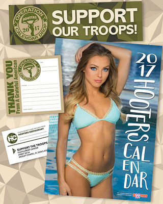 Miss Hooters International Sable Robbert featured on the cover of the 2017 Hooters Calendar. Hooters Operation Calendar Drop has distributed over 150,000 Hooters Calendars to Military Personnel stationed around the World. The program kicks off annually in November at all Hooters locations and goes through the Holidays.