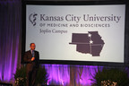 Dr. Marc B. Hahn announces new campus in Joplin, Missouri for the Kansas City University of Medicine and Biosciences during his presidential investiture March 26, 2015.