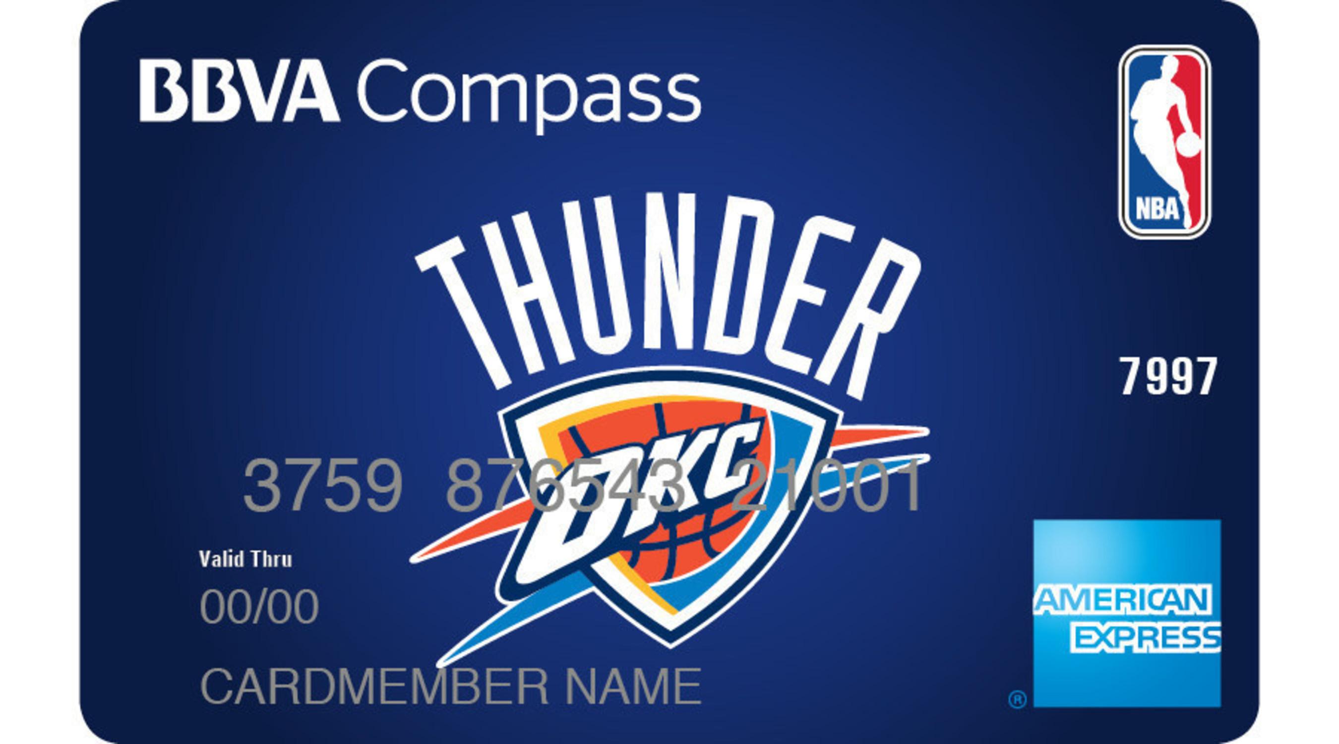 The BBVA Compass NBA American Express Card Featuring Oklahoma City Thunder Team Logo