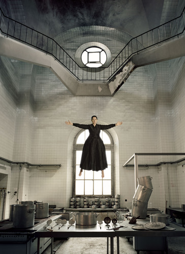 Image credit:  Marina Abramovic, The Kitchen I - Homage to Saint Therese, 2009, framed black and white Lambda ...