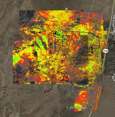 Agribotix used its drone-enabled agricultural intelligence platform to map 600 acres of land and assess the health of the cottonwood forest. The colors represent relative tree health and help conservationists identify areas that require attention.