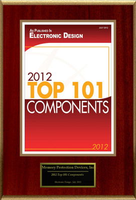 "Memory Protection Devices, Inc Selected For ""2012 Top 101 Components.""  (PRNewsFoto/Memory Protection Devices, Inc)"