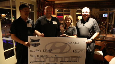 FOUNTAIN VALLEY, Calif., May 16, 2014 -- Amy Kemp from Vandergriff Hyundai in Arlington, Texas wins Hyundai National Service Advisor Skills Competition and advances to Global Championship. (PRNewsFoto/Hyundai Motor America)