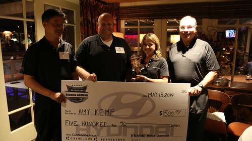 FOUNTAIN VALLEY, Calif., May 16, 2014 -- Amy Kemp from Vandergriff Hyundai in Arlington, Texas wins Hyundai ...