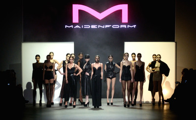 """Maidenform presents The Art of Form fashion show at Amsterdam Fashion Week in Amsterdam, Saturday, Jan. 26. 2013. """"With an ultra sexy runway show, Maidenform proved a woman doesn't need to compromise style for comfort,"""" said Catherine Shannon, shapewear designer at Maidenform. Models in Maidenform lingerie and shapewear paired with fashion from Dutch designers Anne de Grijff, Irene Bussemaker, David Laport, Thom Barends, Collectie Arnhem, Julian Jap Stips and Laimbock. (Photo/ Giusy de Ceglia Photography)."""