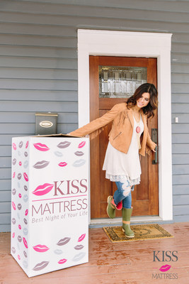 kiss mattress is delivered to your door in a box the size of a bar stool