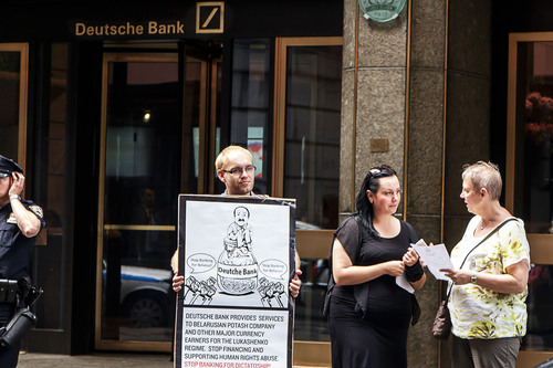 Human rights organization protesting against Deutsche Bank providing services to Belarusian State companies.  (PRNewsFoto/Belarusians in Exile)