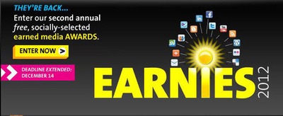 Showcase your earned media success and enter PR Newswire's Earnies awards program.  Deadline is Friday, December 14th, 2012. Visit www.agilitycommunity.com.  (PRNewsFoto/PR Newswire Association LLC)
