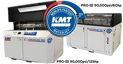 KMT World's Fastest Waterjet PRO-III 125hp and 60hp pumps for cutting metal, aluminum, steel, stainless steel, titanium, rubber, plastic, glass and much more. Cutting at 90,000psi