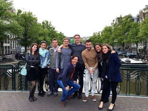 "Six of the seven finalists in the ShowBoats Design Awards competition âeuro"" Timur Bozca, Jake Edens, Isik Goren, Ben Hills, Harun Kemali and Antonella Scarfiello âeuro"" arrived in Amsterdam the evening of May 27 and were accompanied to a welcome dinner by Oceanco's Marketing and Sales Department. (PRNewsFoto/Oceanco)"