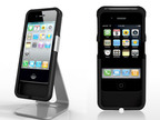 The AudioGlove iPhone case amplifies the smartphone's speaker output and improves the performance of its microphone.  (PRNewsFoto/AudioGlove)