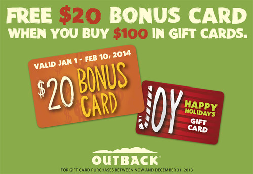 Giving IS Receiving at Outback Steakhouse(R) This Holiday Season. Get a FREE $20 bonus card when you purchase $100 in gift cards online or in restaurants.  (PRNewsFoto/Outback Steakhouse)