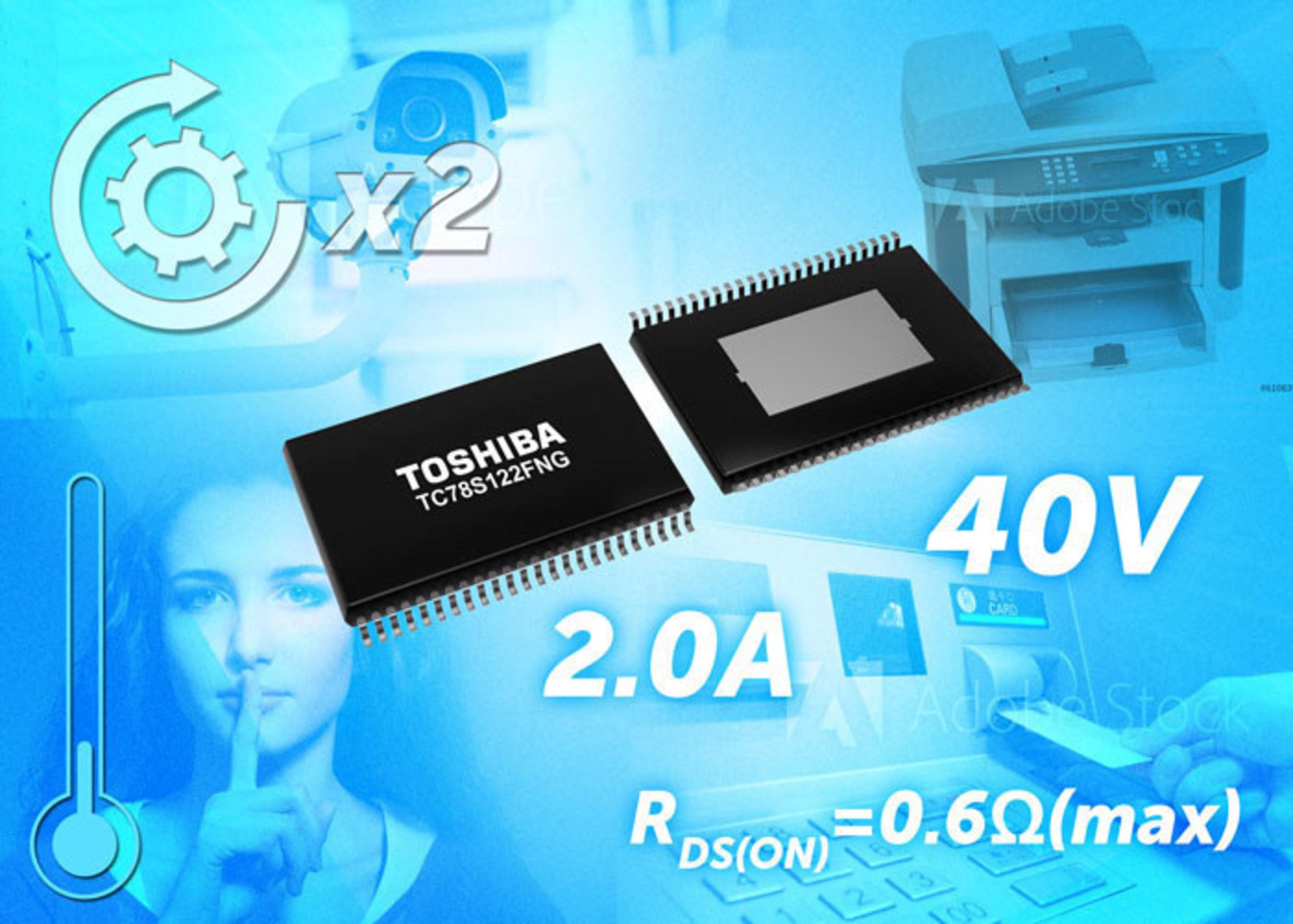 Toshiba's new TC78S122FNG multi-configurable bipolar stepping motor driver operates at 40V/2.0A maximum.