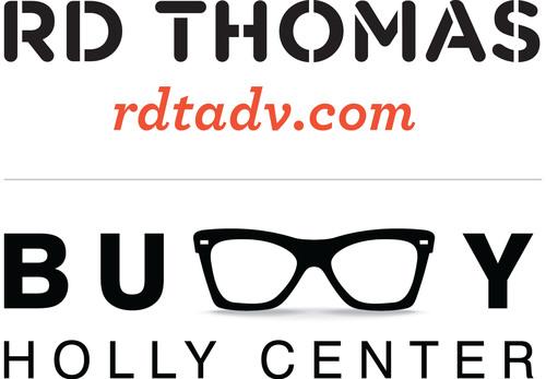 RD Thomas Advertising official logo with award-winning Buddy Holly Center art. www.rdtadv.com.  (PRNewsFoto/RD Thomas Advertising)