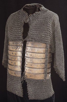15th Century Armor with Elaborate Gold Koftgari Decorated Plate Reinforcement with the Property Stamp from the Janissary Arsenal at the Hagia Irene Church in Istanbul with Inscription that Appears to Bear the name of the Recipient: Qaytbay Mamluk Sultan of Egypt 1468-1496.