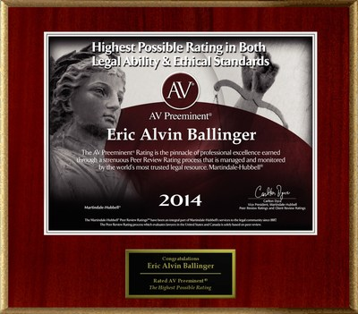 Attorney Eric Alvin Ballinger has Achieved the AV Preeminent(R) Rating - the Highest Possible Rating from Martindale-Hubbell(R). (PRNewsFoto/American Registry)