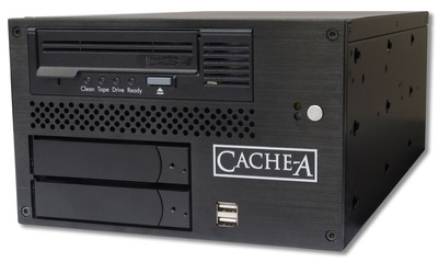 Cache-A's Pro-Cache5 LTO-5 Archive Appliance.  Archiving made easy for digital media professionals.  Works with industry standard tar and LTFS.  (PRNewsFoto/Cache-A Corporation)
