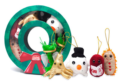 MERRY CHRISTMAS MICROBES: Innovative toy company GIANTmicrobes(R) offers a Wreath box full of cuddly plush germs and cells to hang on the tree, each dressed for the holidays: angelic Nerve Cell, an exclusive Amoeba in sparkly gold lame, Frosty the White Blood Cell Snowman, caroling Sore Throat, and Stomach Ache Gingerbread Man, available at http://www.giantmicrobes.com or in select stores for $24.95 each.  (PRNewsFoto/GIANTmicrobes, Inc.)