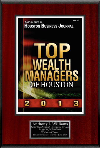 "Anthony L. Williams Selected For ""Top Wealth Managers of Houston"". (PRNewsFoto/American Registry) (PRNewsFoto/AMERICAN REGISTRY)"