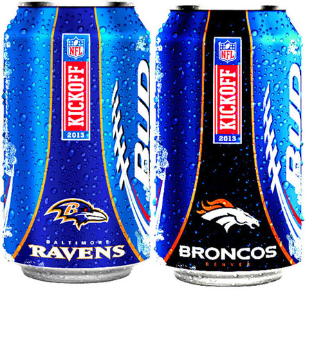 Bud Light cans feature the NFL Shield, and team-specific cans are available in 28 markets.  (PRNewsFoto/Bud Light)