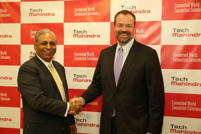 CP Gurnani, MD & CEO, Tech Mahindra and Kenneth Young, CEO, LCC at the signing ceremony. (PRNewsFoto/Tech Mahindra Ltd)
