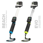 The newly redesigned GoPole Reach and Evo GoPro camera extension poles.