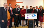FEGS Health & Human Services, along with its partners and friends, celebrate the completed renovation and 40th Anniversary of Tanya Towers, a residence for people who are deaf and have other disabilties. L-R: Stuart Oltchick, FEGS Board of Directors; Julie Walpert, NYC Department of Housing Preservation and Development; Marc Jahr, NYC Housing Development Corporation; Ernie Anastos; Joe Stein, FEGS Board of Directors; Noreen Higgins, Tanya Towers Resident; Ira Machowsky, FEGS Executive Vice President; Gail Magaliff, FEGS Chief Executive Officer; Rosie Mendez, NYC City Council; Tom Blumberg, FEGS and Tanya Towers Board of Directors; Peg Moran, FEGS Senior Vice President.  (PRNewsFoto/FEGS Health & Human Services)