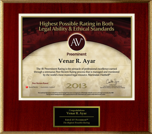 Attorney Venar R. Ayar has Achieved the AV Preeminent® Rating - the Highest Possible Rating from