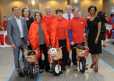 From left to right: FMC Corporation President and CEO Pierre Brondeau; Annie Madonia, United Way Sr. VP of Strategic Philanthropy; Martha Sharkey, Assistant Director of Corporate Giving of Franklin Institute; Barry Crawford, FMC VP of Operations; Karen Totland, FMC VP of Global Procurement, Global Facilities & Corporate Sustainability; Don McKinney, Program Coordinator for the Philadelphia Math Science Coalition; Mike Smith, FMC Vice President and Business Director, FMC Health and Nutrition; and Karen Lunch, Philadelphia School District Chief of Student Services.  (PRNewsFoto/FMC Corporation)