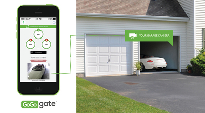 The new video and video recording capability on the GoGogate product with smartphone monitoring of your garage. Shown is the actual screen on the left, linked to a camera in your garage on right.