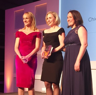 Michele Tyler (center), chief legal officer at Vectrus, receives the Chief Compliance Officer of the Year award at the 2016 Women in Compliance Awards, held recently in London. (Photo Credit: Paul Meredith)