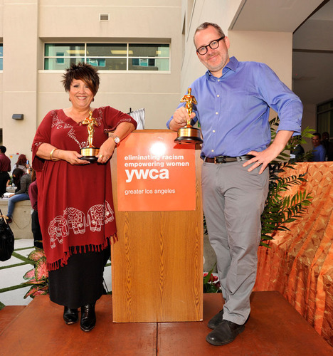 20 Feet From Stardom director Morgan Neville and renowned singer Tata Vega accepting the inaugural Courage To Succeed Award from the YWCA of Greater Los Angeles.  (PRNewsFoto/YWCA of Greater Los Angeles)