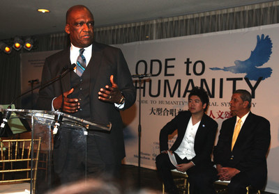 President of the 68th Session of the UN General Assembly and Honorary Chairman of the Global Sustainable Development Foundation Dr. John Ashe delivered a speech before the performance; second from the right is United Nations' Messenger of Peace Lang Lang