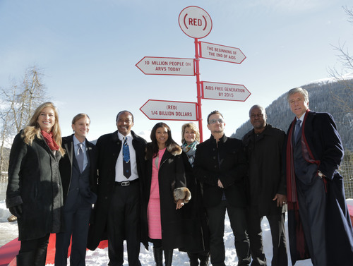 L-R: Deborah Dugan, CEO, (RED); Mark Dybul, Executive Director, The Global Fund to Fight AIDS, TB and Malaria; Patrice and Precious Motsepe; Anne Finucane, Bank of America; Bono, co-founder, (RED); President Mahama, Ghana; Bill McDermott, SAP. (RED) announces $10 million commitment from Bank of America to the Global Fund to fight AIDS, attracting matching funds from the Gates Foundation, SAP and the Motsepe family. (RED) passes milestone of $250 million for the Global Fund. (PRNewsFoto/(RED)) (PRNewsFoto/(RED))