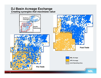 Map of Noble Energy's and Anadarko Petroleum's Strategic Acreage Exchange in DJ Basin. (PRNewsFoto/Noble Energy) (PRNewsFoto/NOBLE ENERGY)
