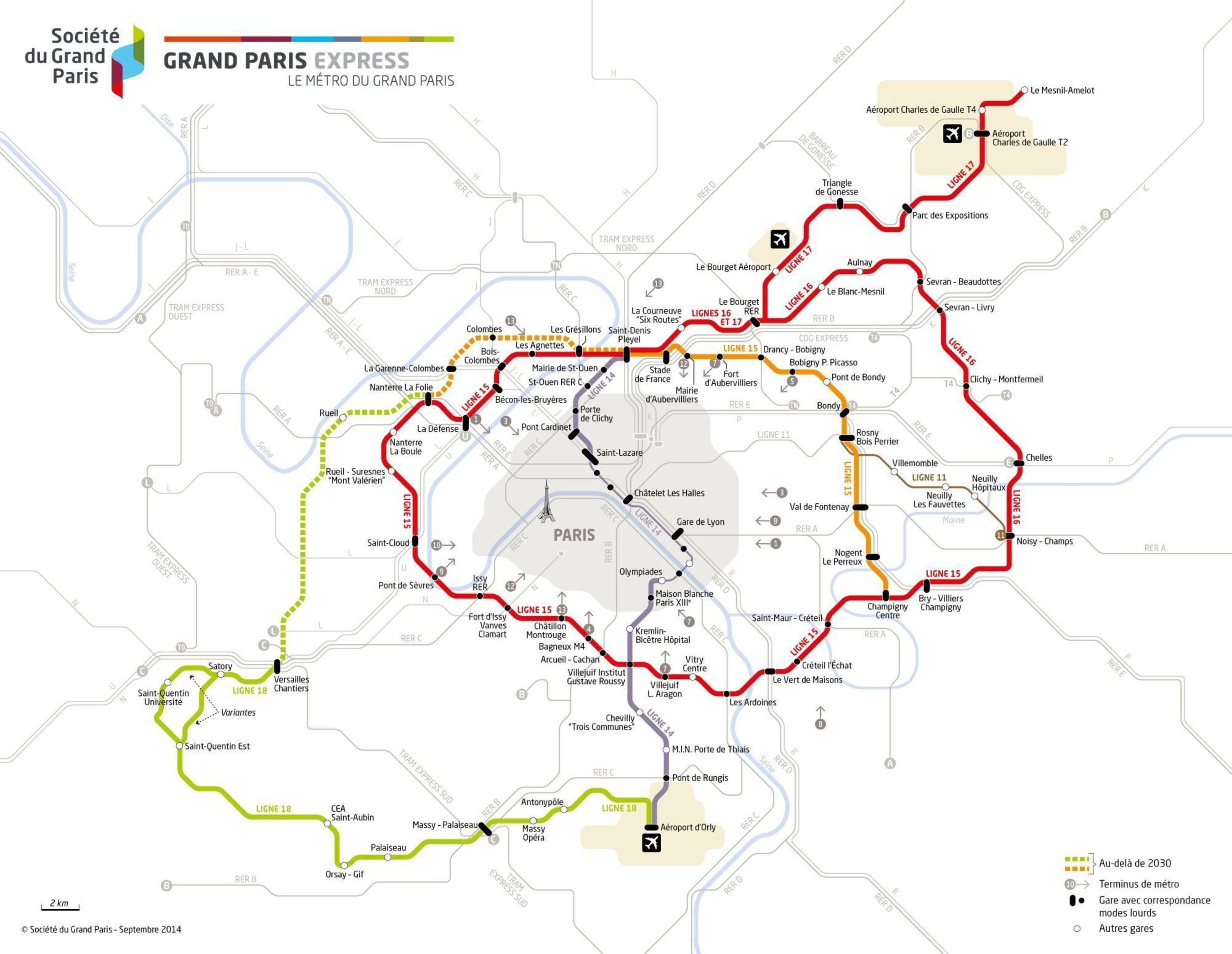 Map of the GrandParisExpress (PRNewsFoto/Societe du Grand Paris)