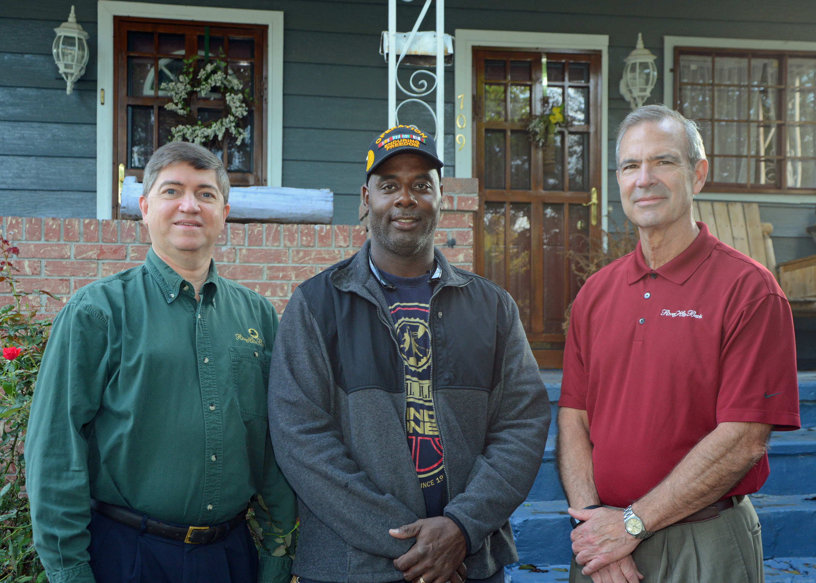 RiverHills Vice President David Blackledge (left) and RiverHills President and COO Joel Horton (right) with HAVEN grant recipient Steven Williams. Mr. Williams, a Navy veteran, received a $7,500 HAVEN grant from RiverHills Bank and the Federal Home Loan Bank of Dallas to make a number of home repairs.