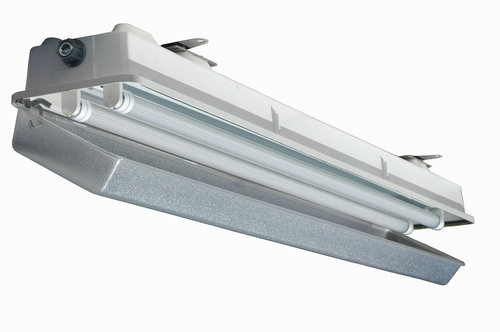 The HALP-EMG-48-2L-LED hazardous area fluorescent light fixture is designed for use in wet areas and saltwater-marine environments where corrosion resistance is critical to equipment longevity and safety. This Class 1 Division 2 rated fixture is constructed of non-corrosive materials including a polyester housing reinforced with glass fiber, a poured in gasket for reliable sealing and an impact resistant acrylic diffuser. Corrosion resistant stainless steel latches secure the lamp cover to the housing and provide a firm lock against the poured  ...