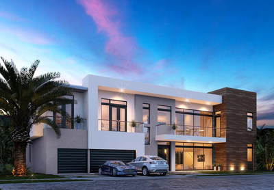 Rendering of one of the eight model home types offered at The Mansions of Doral. Each home is designed to be customized to its owner's vision and taste.