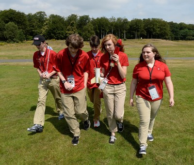 The U.S. student rocketry team, sponsored by Raytheon Company, captured second place in the 2014 International Rocketry Challenge in Farnborough, England on July 18, 2014. The team from France placed first and the team from the U.K. placed third. The five-member team is from Creekview High School of Canton, Ga.. From left to right: Austin Bralick, 16; Andrew White, 16; Nick Dimos, 16; Amanda Semler, 18; and Bailey Robertson, 15. (PRNewsFoto/Raytheon Company)