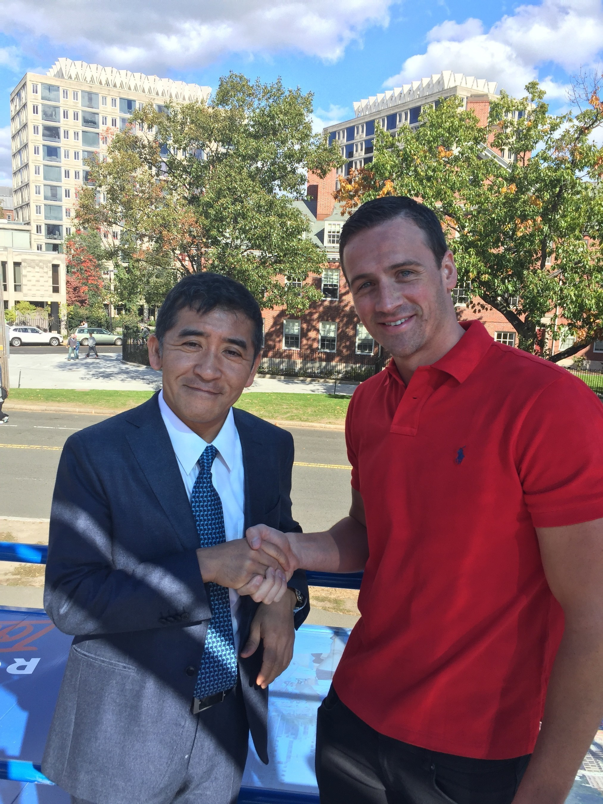 Ryan Lochte and airweave CEO, Motokuni Takaoka