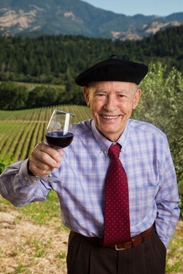 "Miljenko ""Mike"" Grgich toasts to the scholarship he established through the James Beard Foundation.  (PRNewsFoto/Grgich Hills Estate)"