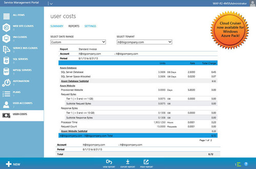 Example of User Costs Report with Cloud Cruiser's Cloud Financial Management for Microsoft Azure Pack.  ...